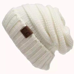 White knit C.C Beanie NWOT